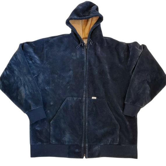 Vintage Carharrt Mens Velour Hooded Jacket Blue Sz