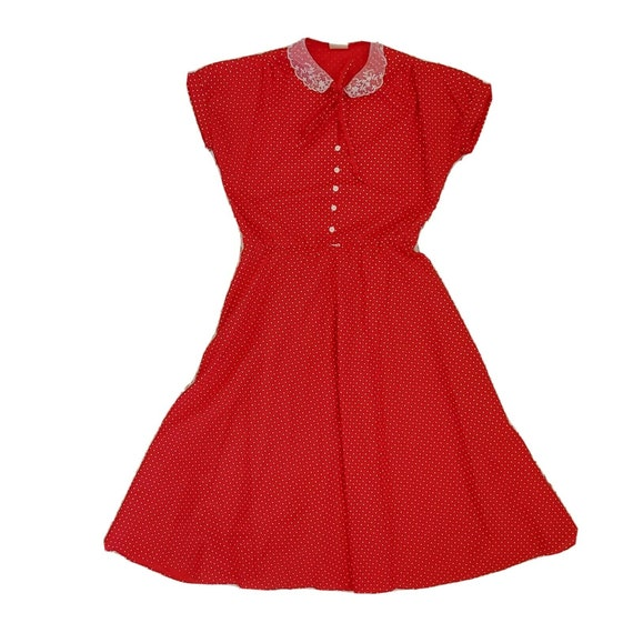 Vintage Womens Red Pinup Dress Rockabilly Red Polk