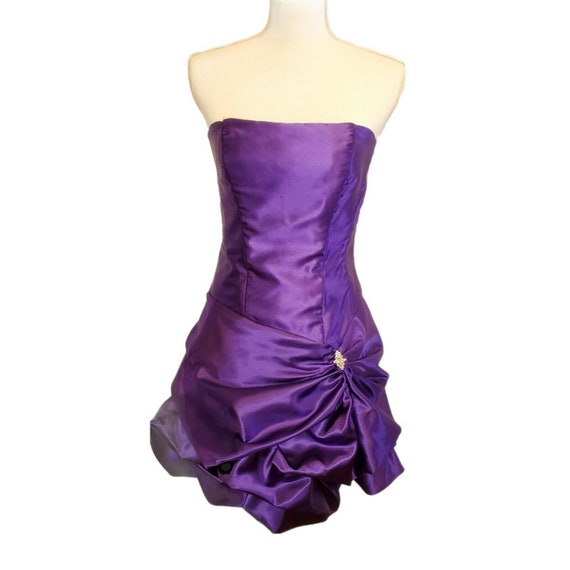 Vintage 80s 90s Gunne Sax Purple Satin Formal Dre… - image 1