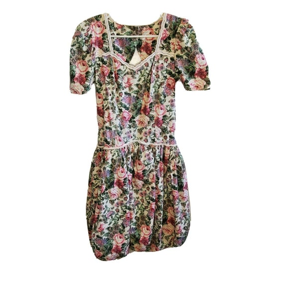 Vintage 1980s Floral Dress Open Back Puff Sleeves