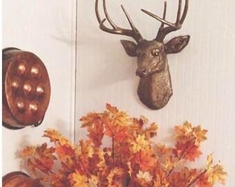 Faux Taxidermy - Deer Head Wall Mount - Metallic Bronze Deer Head  Resin Wall Decor D0909