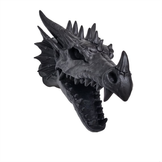 Faux Taxidermy - Black Dragon Head Wall Mount - Game of Thrones Decor -  Nerdy Geek Chic - DRS17