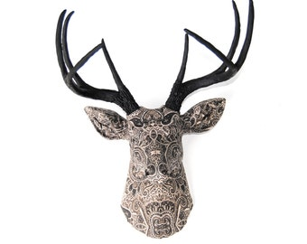 Faux Taxidermy Plaid Pattern Fabric Deer With Gold Antlers