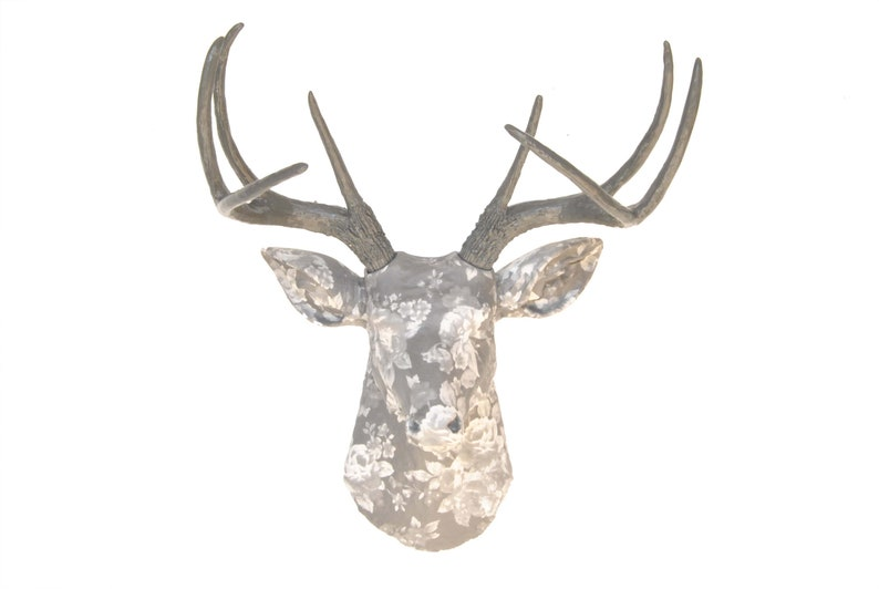 Gray Roses Faux Taxidermy Deer Head Wall Mount Fabric Home Etsy