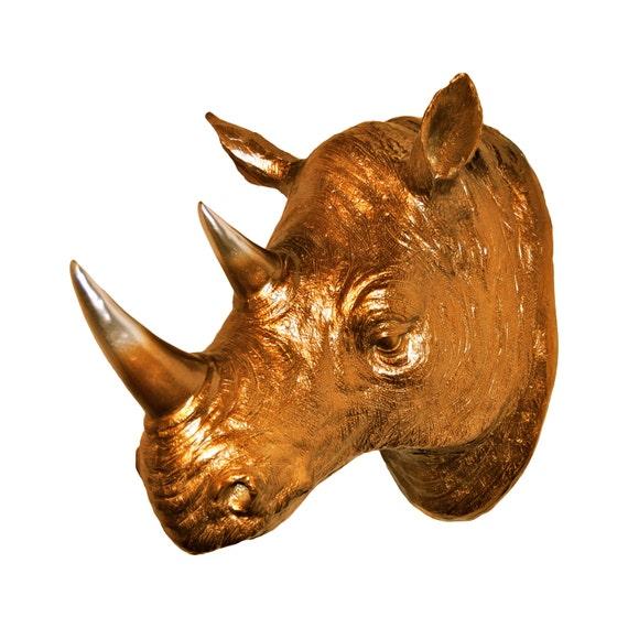 Rhino Head Ombre Rhino Head Wall Mount Bronze and Chrome   Etsy