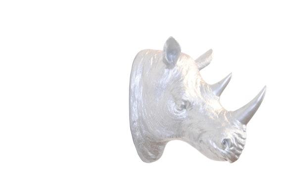 Faux Taxidermy Rhino Head Faux Taxidermy Metallic Silver   Etsy