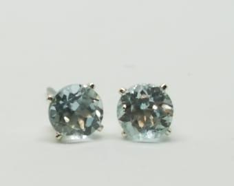 aquamarine earrings, aquamarine studs, round aquamarine earrings, round aquamarine studs, genuine aquamarine studs, 1.3 ct  .925