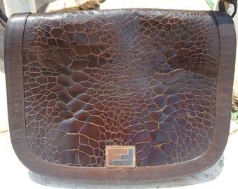 ac6d0a1811f Vtg Rare 60s Authentic Fendi Choco Brown Lambskin Alligator Shoulder Bag  Purse