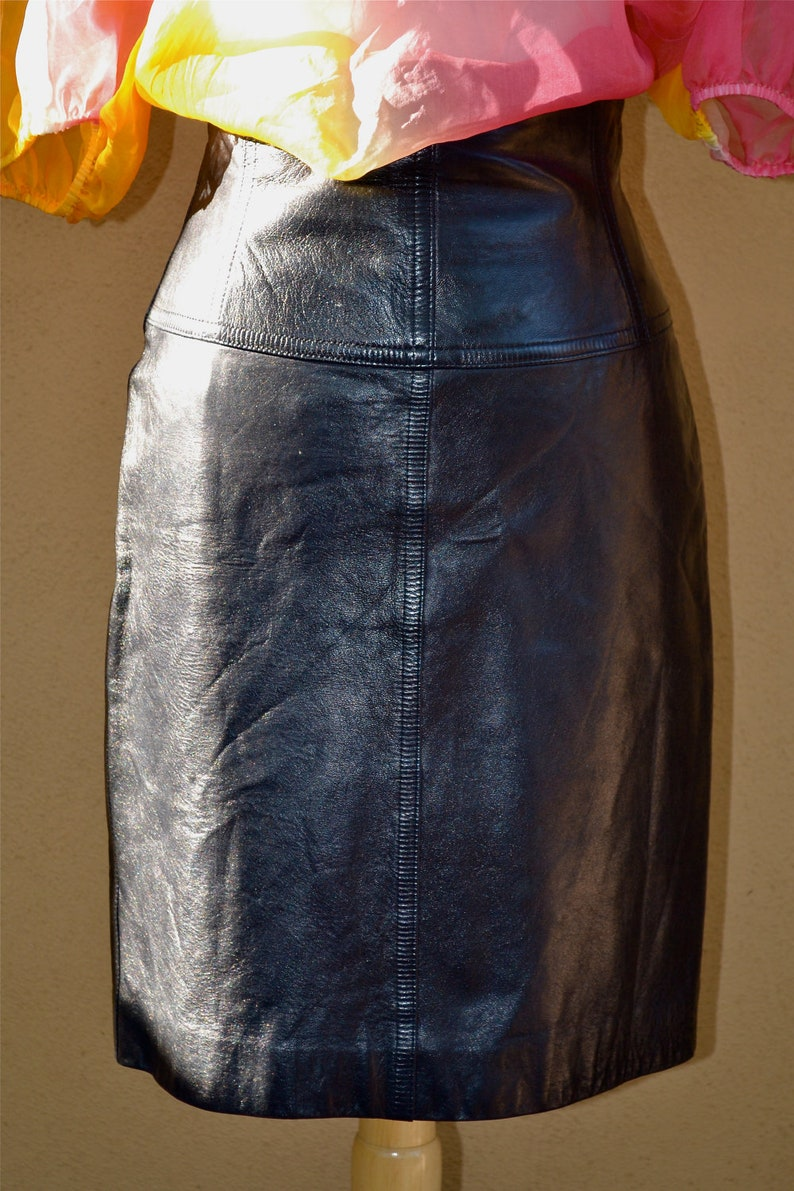 vtg ESCADA leather lambskin Kidskin PENCIL SKIRT navy black  size s-m