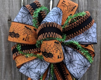 Halloween Bows, Black Orange Spider web Halloween Wreath Bow, Lots of Ribbons / Tails, Mixed Media Wreath Bow, Halloween Wreath Decoration