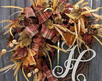 Fall Door Wreath, Muted Colors Fall Wreath, No Orange, Cream, Brown Green Fall Wreath, Cream Pumpkin