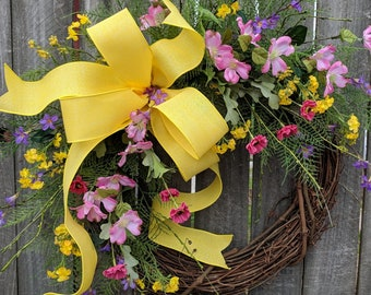 Wreath for Spring, Spring / Summer Wreath, Spring, Summer Wreath, Colorful Wreath,Mothers Day,Pink and Yellow Wreath, Etsy, Horn's Handmade