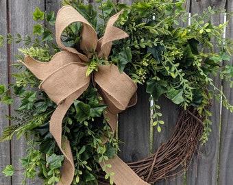 Greenery Wreath - Wreath Great for All Year Round - Everyday Burlap Wreath, Door Wreath, Front Door Wreath