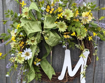 Butterfly Spring Front Door Wreath Spring, Wreath for Spring and Summer, Letter Wreath, Wreath with Letter, Door Wreath