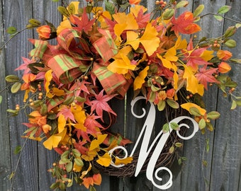 Fall Wreaths Fall Wreath for Front Doors Wreath Orange Berry Wreath Front Door Wreaths Thanksgiving Wreaths Wedding Ginkgo Wreath