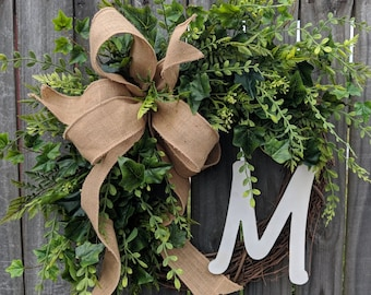 Wreath ,Everyday Wreath,  Wreath for All Year Round, Wreath with Monogram, Wreath with Burlap Bow, Housewarming Gift, Home Decor Gift