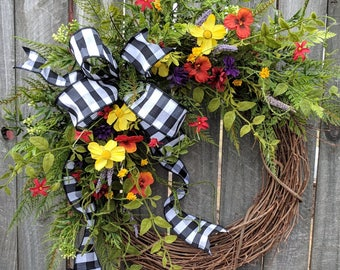 Wildflower Wreath, Spring / Summer Wreath, Black and White Buffalo Check Wildflower Farm Wreath