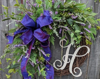 Purple Door Wreath, Lavender Monogram Wreath, Spring Wreath, Spring Wreaths, Lavender Wreath, Natural Wild Front Door, Purple