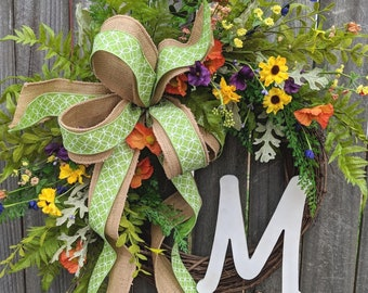 Spring / Summer Wreath, Spring / Summer Decor, Bright Fun Spring Wreath, Burlap Spring Wildflower Wreath with Monogram Option