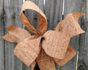 Cork Wreath Bow - Bow Wine Lover Wreath/Decorations, Everyday Bow, Napa Valley Style Wedding Bow, Asymmetrical Bow