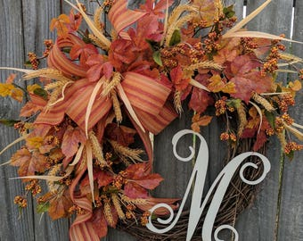 Wreath, Fall Wreath with Monogram, Wreath for Fall with Letter, Harvest Berry Wreath, Fall Wreath, Thanksgiving, Halloween Decor