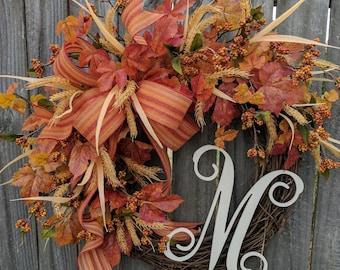 Wreath, Fall Wreath with Monogram, Wreath for Fall with Letter, Harvest Berry Wreath, Fall Wreath, Thanksgiving, Halloween Decor