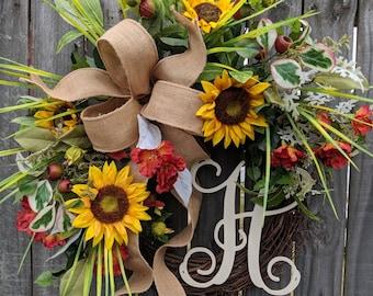 Summer Wreath, Spring / Summer Sunflower Wreath, Monogram Wreath, Grassy Fields Wreath, Burlap Sunflower Wreath