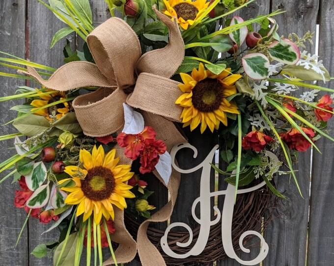 Featured listing image: Summer Wreath, Spring / Summer Sunflower Wreath, Monogram Wreath, Grassy Fields Wreath, Burlap Sunflower Wreath
