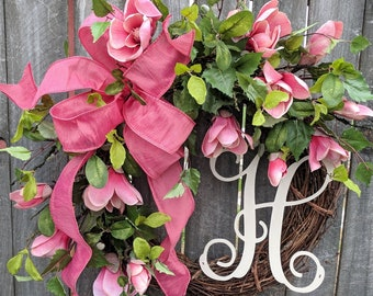 Spring / Summer Wreath, Magnolia Wreath, Coral Pink Magnolia Wreath for Spring and Summer