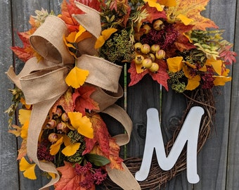 Fall Wreath with Burlap, Ginkgo, Berries, Fall Decoration, Fall Door Wreath, Fall Monogram Letter Wreath