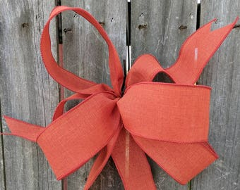 Fall Wreath Bow, Rust Wreath Bow, Fall, Halloween, Wreath, Lantern, Wedding Decor, Pumpkin Bow