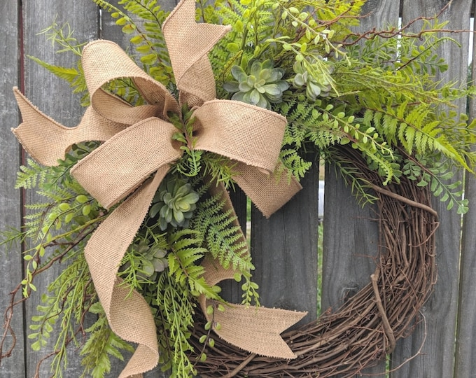 Featured listing image: Succulent Wreath - Wreath Great for All Year Round - Everyday Burlap Wreath, Door Wreath, Front Door Wreath