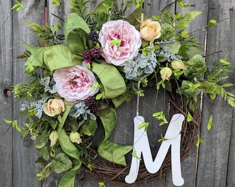 Door Wreath, Spring Blackberry Rose Wreath, Monogram Spring Front Door Wreath, Wreath for Spring, Summer, Letter Wreath, Wreath with Letter