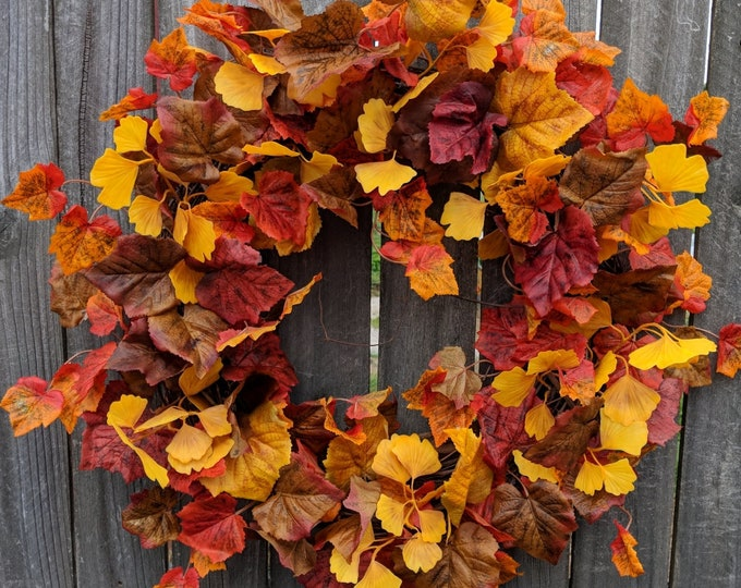 Featured listing image: Fall Wreaths, Simple Leaf Wreath, Wreaths for fall, Halloween Thanksgiving wreath, Wreaths for door, Wreaths Autumn Wreath, Harvest Wreath