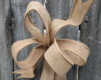 Small Burlap Bow, Wired Bow, 1.5 in Width Ribbon Bow for Spring, Summer, Fall, Christmas, Simple Informal Burlap Bow