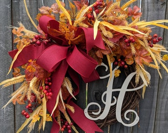 Fall Wreath for Door, Fall leaves, Autumn Berries, Fall Wheat, Front Door Wreath for Fall / Autumn / Halloween / Thanksgiving