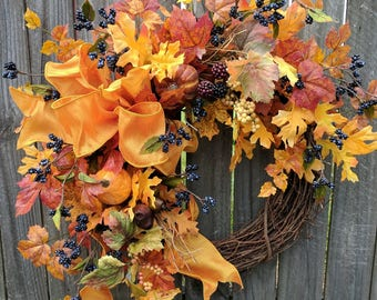 Fall wreath, fall door wreath, autumn wreath, autumn door decor, harvest wreath, harvest door wreath, fall wreath leaves berries