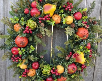Christmas Wreath - Williamsburg Style Christmas Wreath with Fruit and Berries - Christmas Fruit Wreath