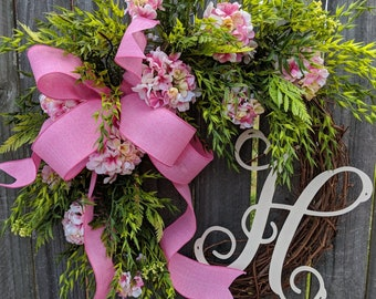 Spring / Summer Wreath, Pink Geranium Wreath, Realistic Gerainiums, Pink Wreath, Baby Shower Wreath, Girl