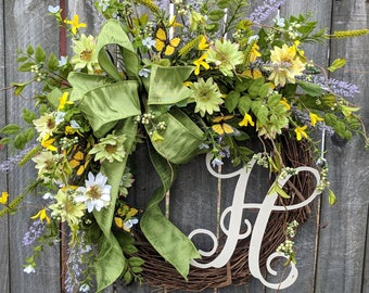 Door Wreath, Monogram Wreath, Butterfly Wreath, Spring Wreath, Berry Wreath, Natural Wild Lavender and Forsythia Wreath, Spring Field Wreath