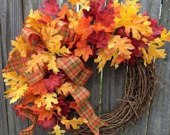 Fall Wreath, Halloween Decor, Thanksgiving Wreath, Fall of the Year Wreath, Fall Leaves Wreath, Horn's Handmade