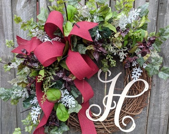 Year Round Wreath, Herb Wreath, Burgundy Wreath, Spring Summer Fall Wreath, Door Wreath, Horn's Handmade
