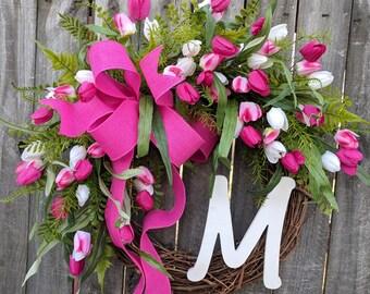 Spring Wreath, Door Wreaths Spring, Tulip Wreath, Monogram Wreath, Wreath with Pink Tulips, Wreath, Easter Wreath