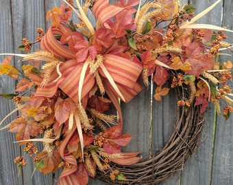Halloween Wreath, Thanksgiving Wreath, Fall of the Year Wreath, Fall Berries, Fall Stripe