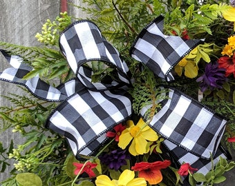 Bow for Wreath, Black and White Buffalo Check bow, informal Wreath Bow