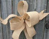 Burlap Bow, Wreath bow, Bow for Spring, Summer, Fall, Christmas Wreaths, Simple Informal Burlap Wreath Bow with Wired, Wired Ribbon