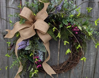 Front Door Wreath, Everyday Wreath with Touch of Purple and Fuchsia, Door Wreath, Front Door Wreath, Spring Wreath, eucalyptus burlap