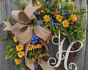 Spring Wreath with Monogram