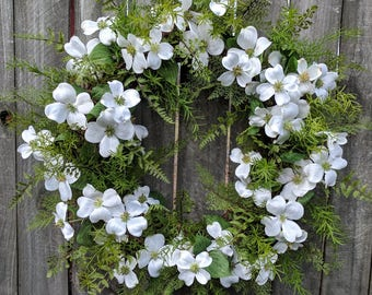 Spring Wreaths, Spring Wreath, Dogwood, Fern Wreath for Early Spring / Year Round