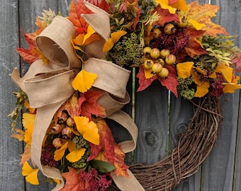 Fall / Autumn Wreath with Berries, Fall Burlap Wreath, Fall Colors Wreath, Fall Etsy Wreath